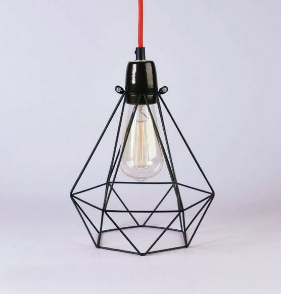 Black cage red fabric wire red fabric lamp table and pendant lamps buy online black cage red fabric wire by filamentstyle metal pendant lamp table lamp diamond collection mozeypictures Image collections