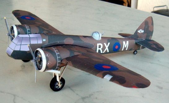 WWII Bristol Blenheim Mk IF Light Bomber 1:48 Scale Free Aircraft Paper Model Download