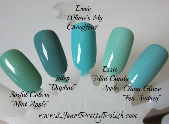 3fc99d72c6a Turquoise Polish Comparison  Sinful Colors  Mint Apple