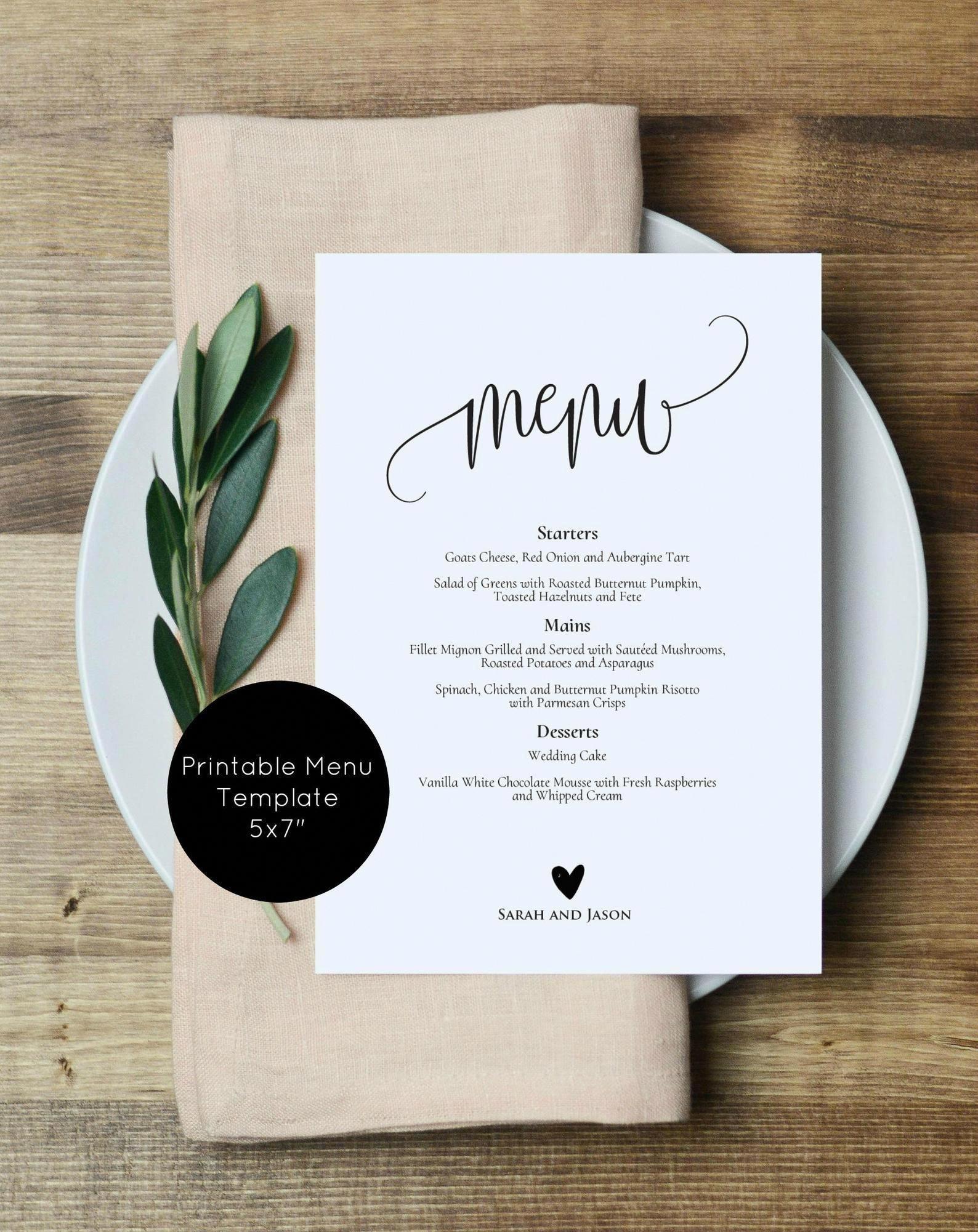 Wedding Menu Printable, Rustic Menu, Printable Wed