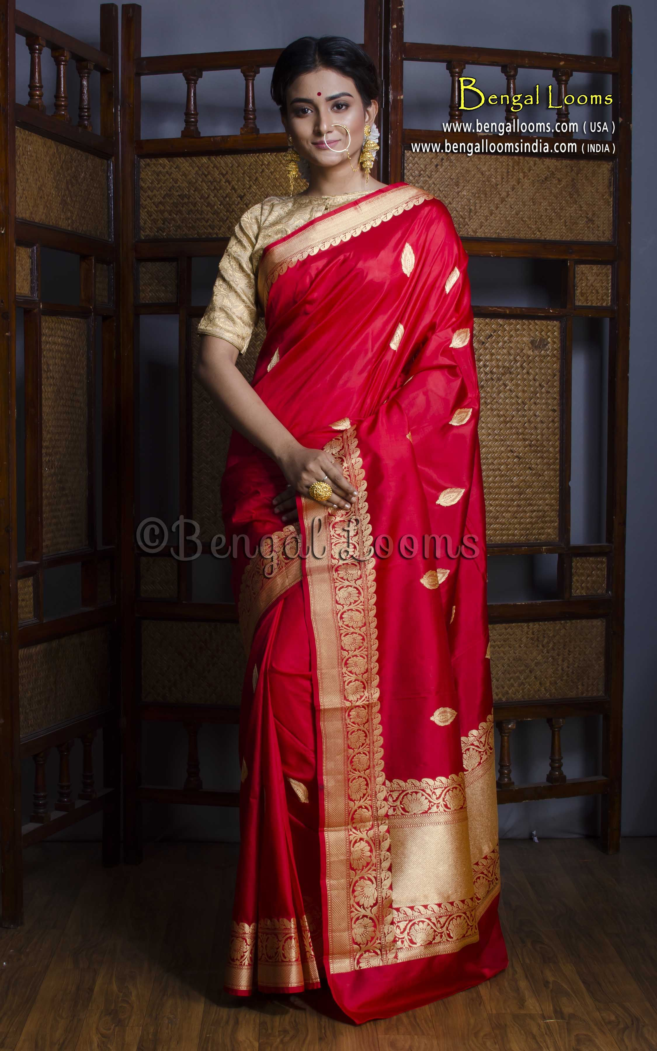 b5d3861d05 Pure Handloom Katan Silk Banarasi Saree in Red and Gold | Indian ...