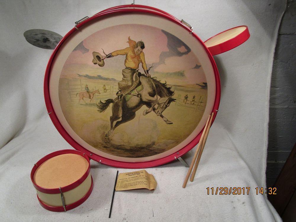 Vintage 1951 Noble & Cooley Child's Western Drum Set Orig