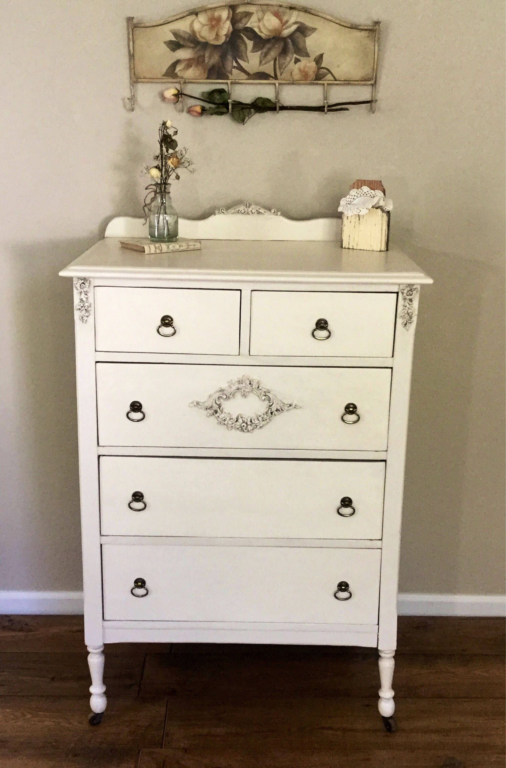 five drawers eclectivo chic chest shabby pine london of index solid