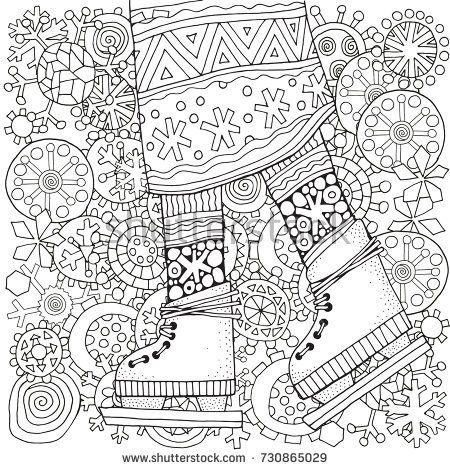 Winter girl on skates Winter snowflakes Adult Coloring