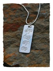 Fine silver print dogtag pendant and sterling silver necklace chain. Four prints dogtag pendant