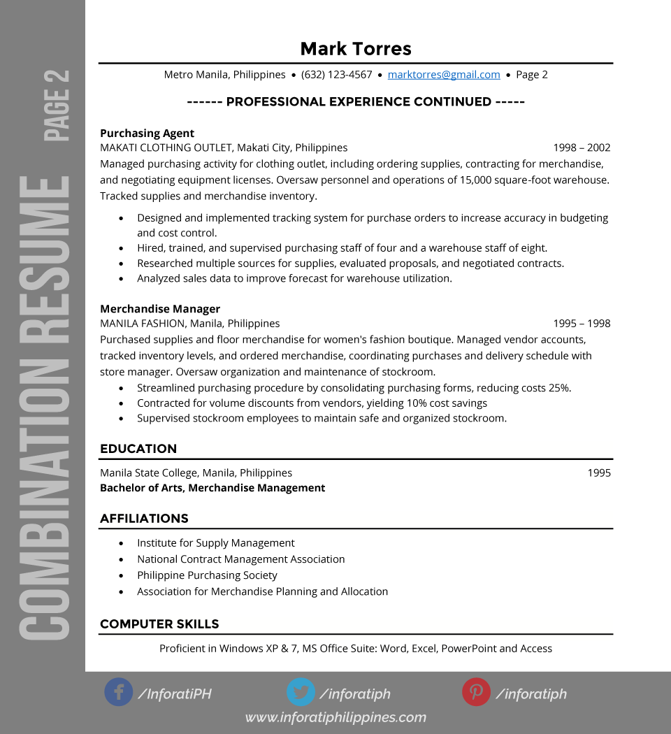 Resume Types Combination Resume Typesformat Page 2  Resumes & Cv  Pinterest