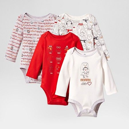 cd0fcb098 Lamaze Baby Organic 4 Pack Long Sleeve Holiday Bodysuits - Red : Target