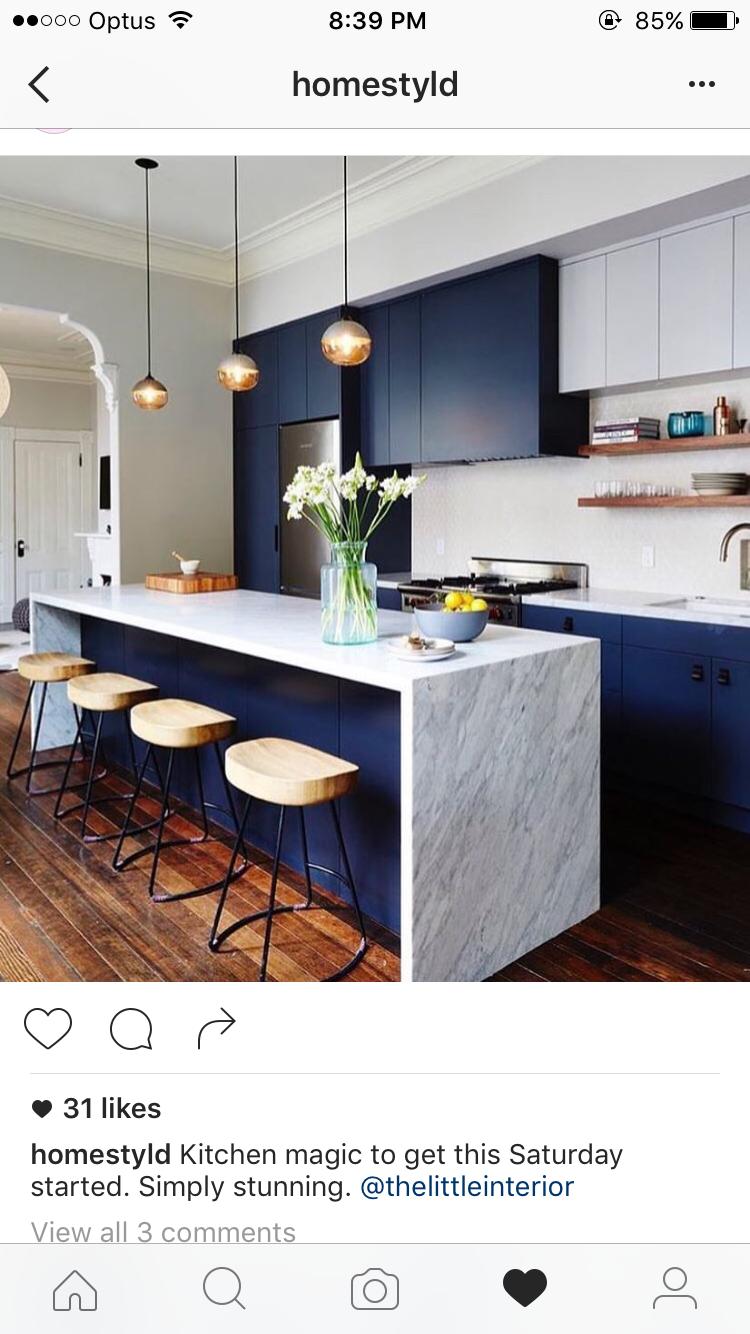 Navy and marble kitchen | cucine desing nel 2019 | Pinterest ...