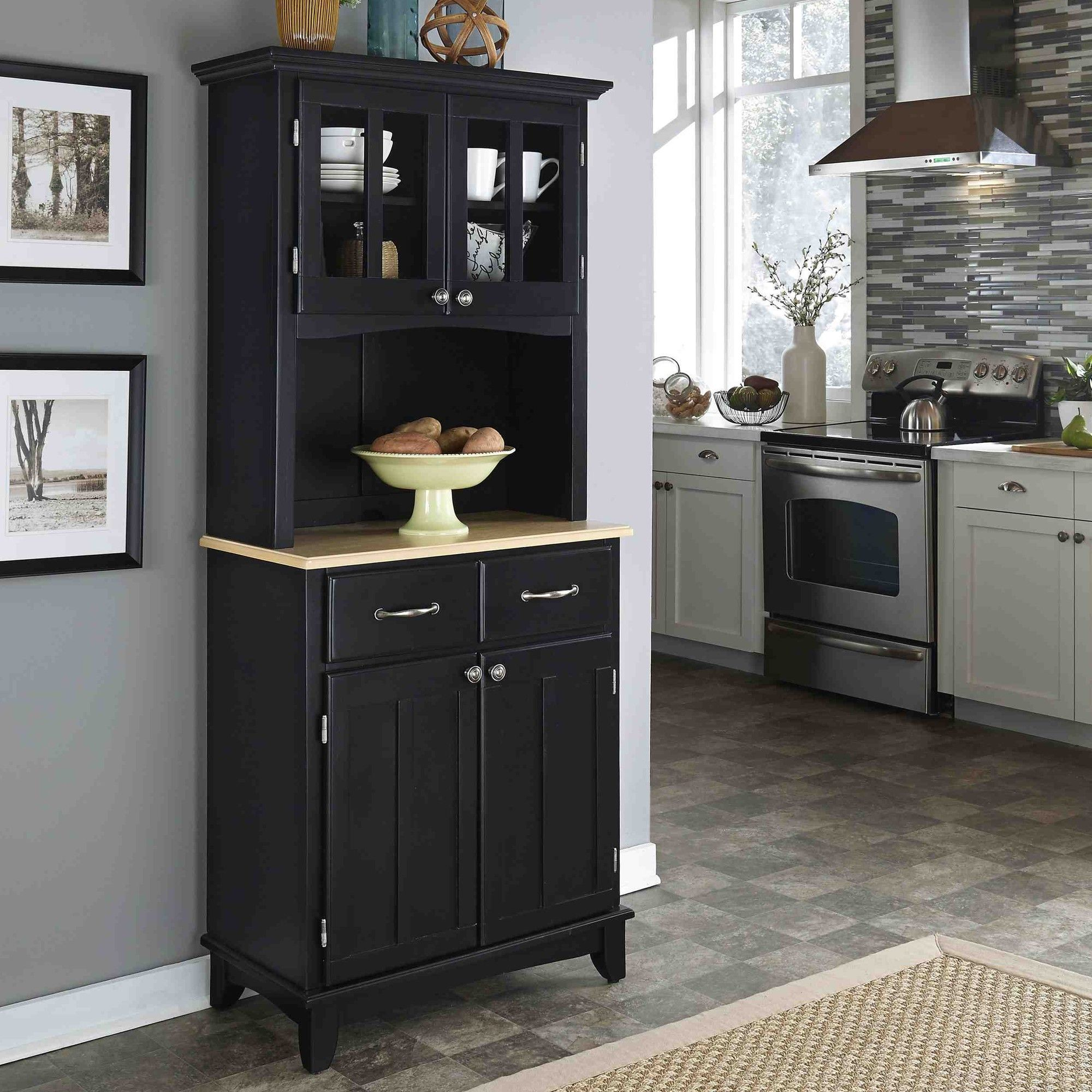 Home Styles Furniture Black Wood Buffet With Natural Top And Panel Hutch
