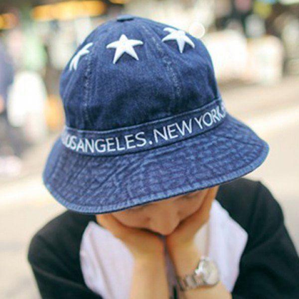 Elegant Star Pattern Solid Color Bucket Hat For Women