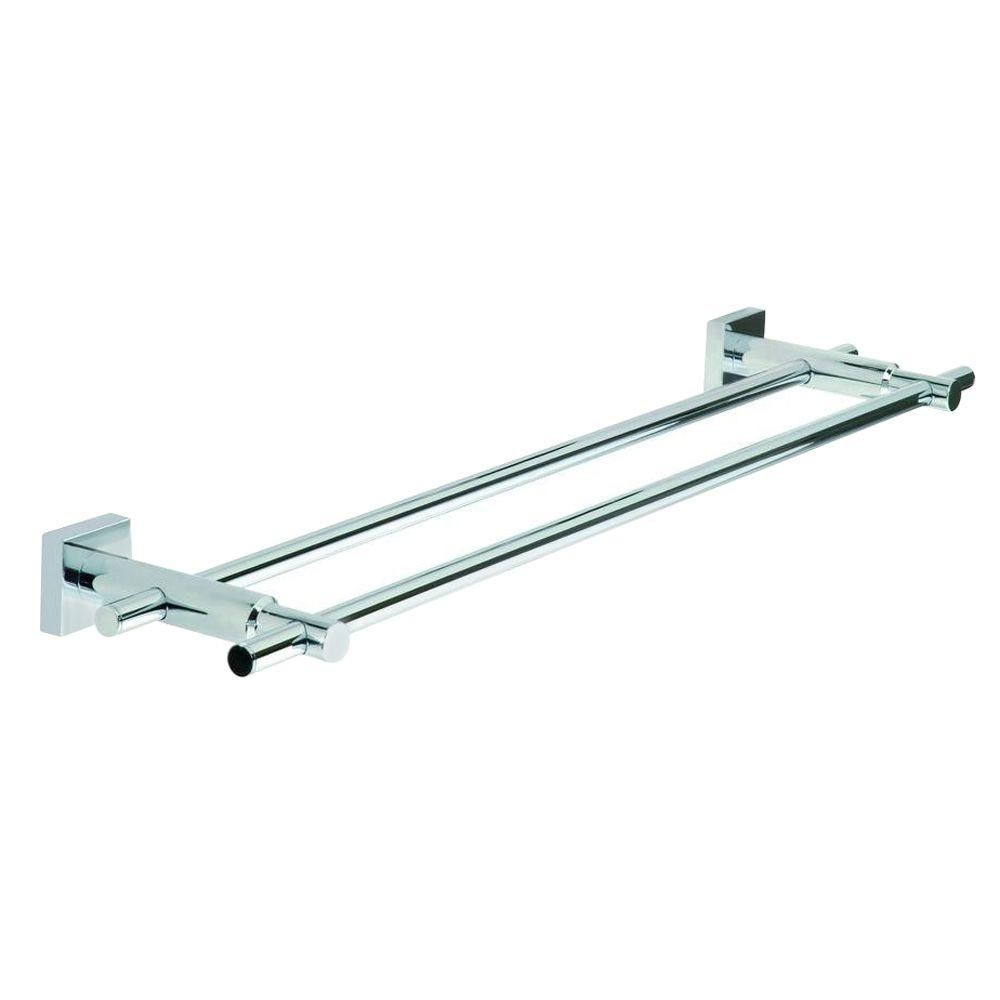 No Drilling Required 24 In Double Towel Bar In Chrome Hu212 Chr The Home Depot In 2020 Towel Bar Chrome Thick Towel