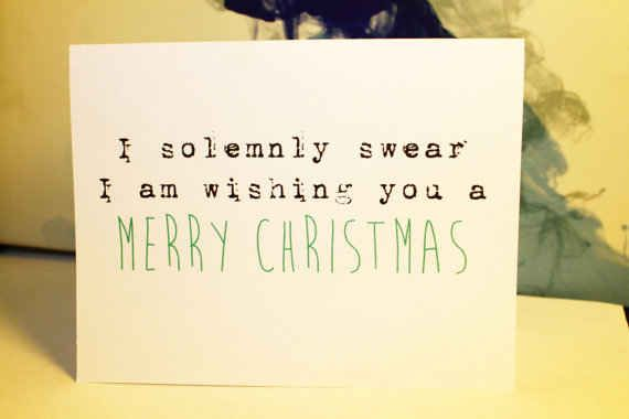 Harry Potter I Solemnly Swear Christmas Card Funny Christmas Cards Diy Christmas Card Sayings Nerdy Christmas