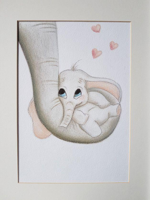 zeichnung s er elefant bild f r kinderzimmer baby kinderzimmer kreide und bilder malen. Black Bedroom Furniture Sets. Home Design Ideas