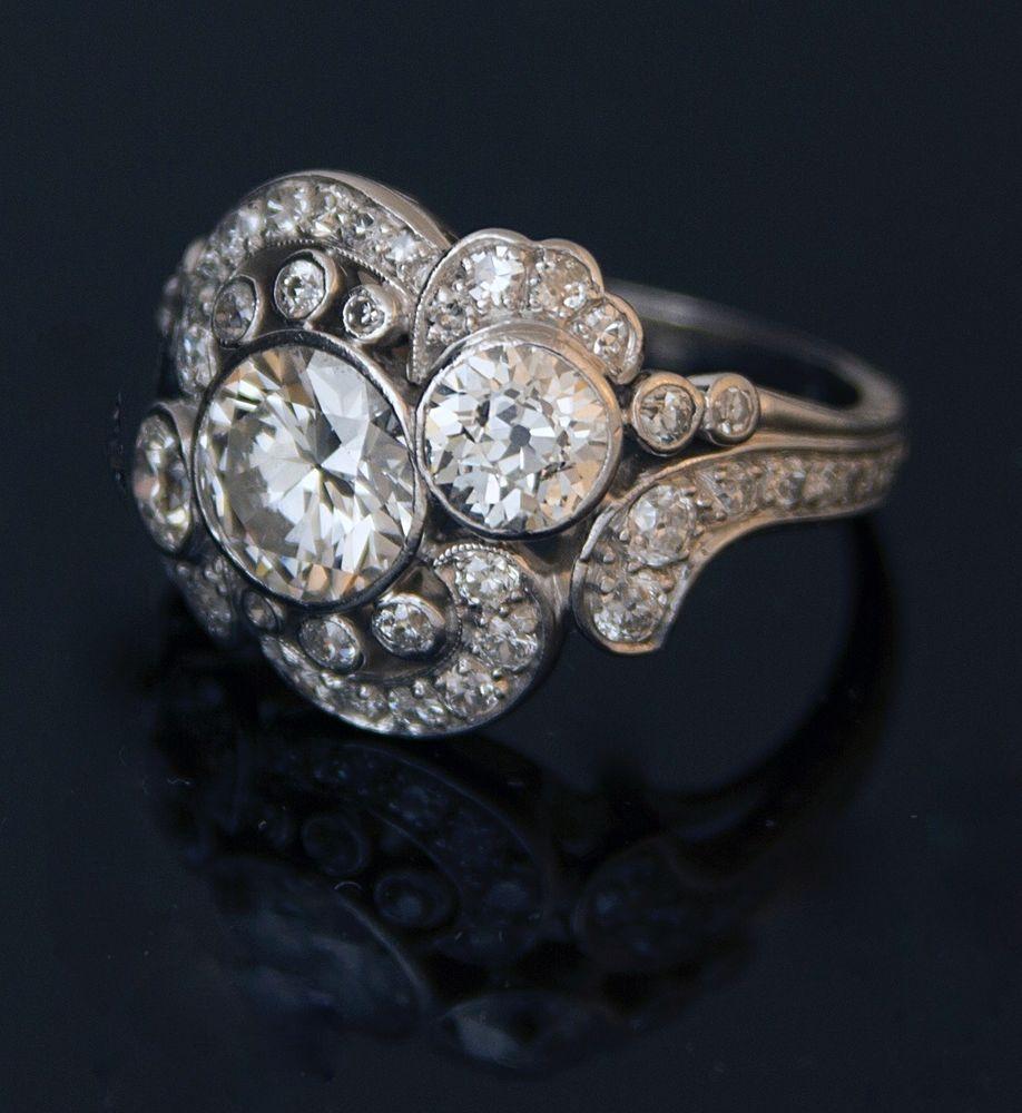 1920s Nouveau Art Deco Euro Cut Diamond and Platinum Cocktail Ring 3.31 carats #Handmade #Cocktail