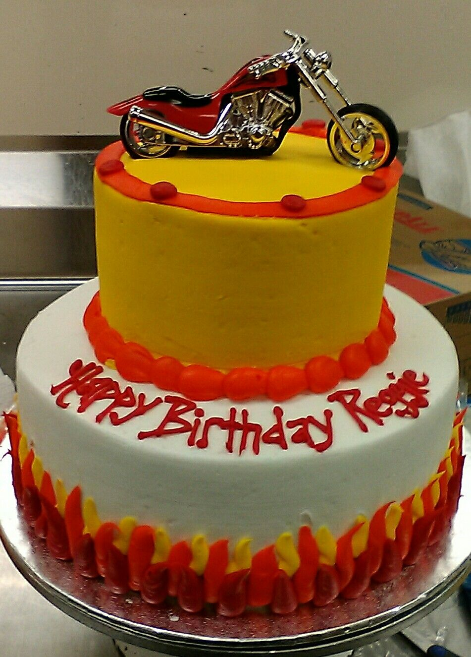 2 tier cake Buttercream icing Red hot chopper Motorcycle theme ...