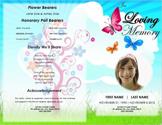 Child Funeral Order of Service Template / Kid Memorial Service ...