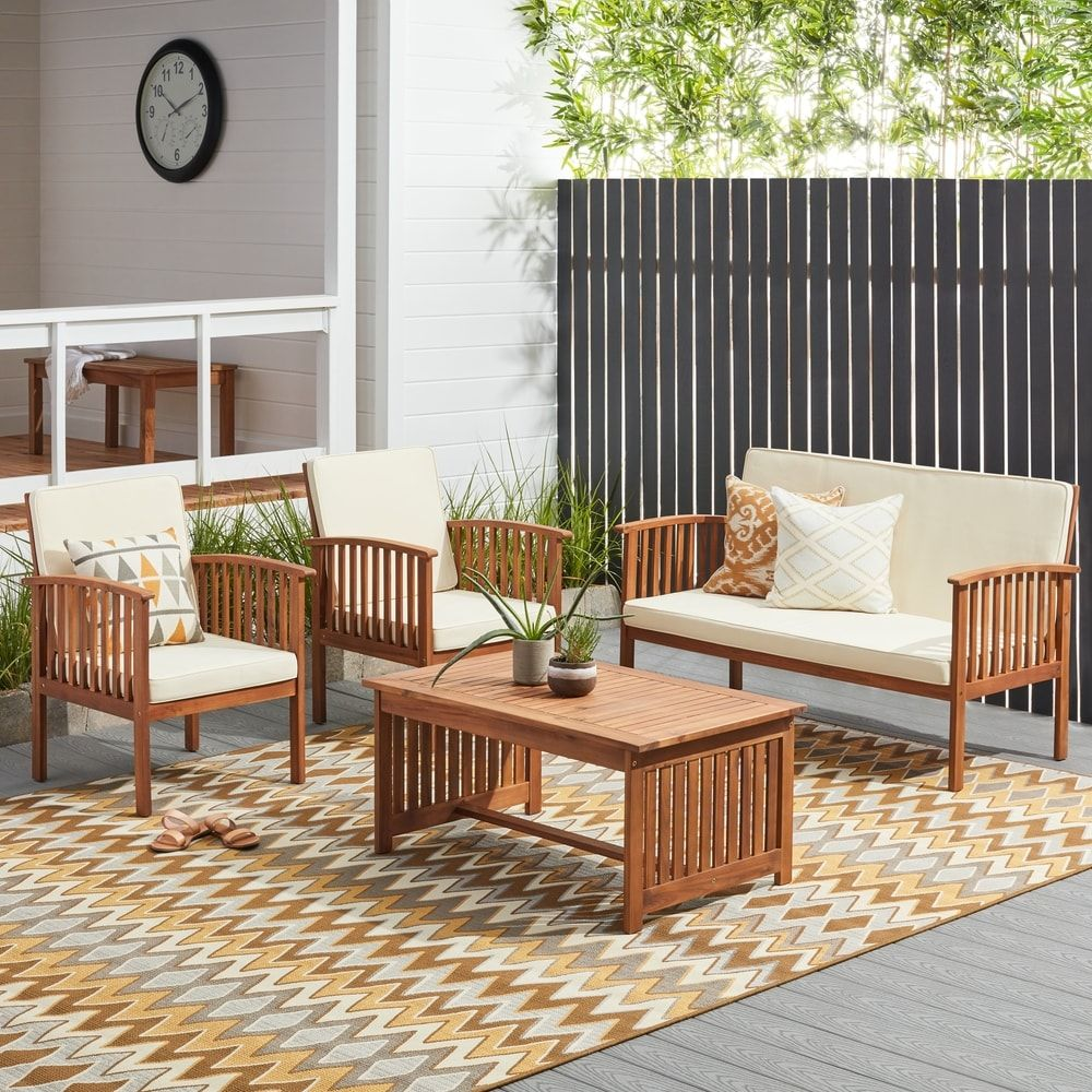 Home garden furniture  Carolina piece Outdoor Acacia Sofa Set by Christopher Knight Home