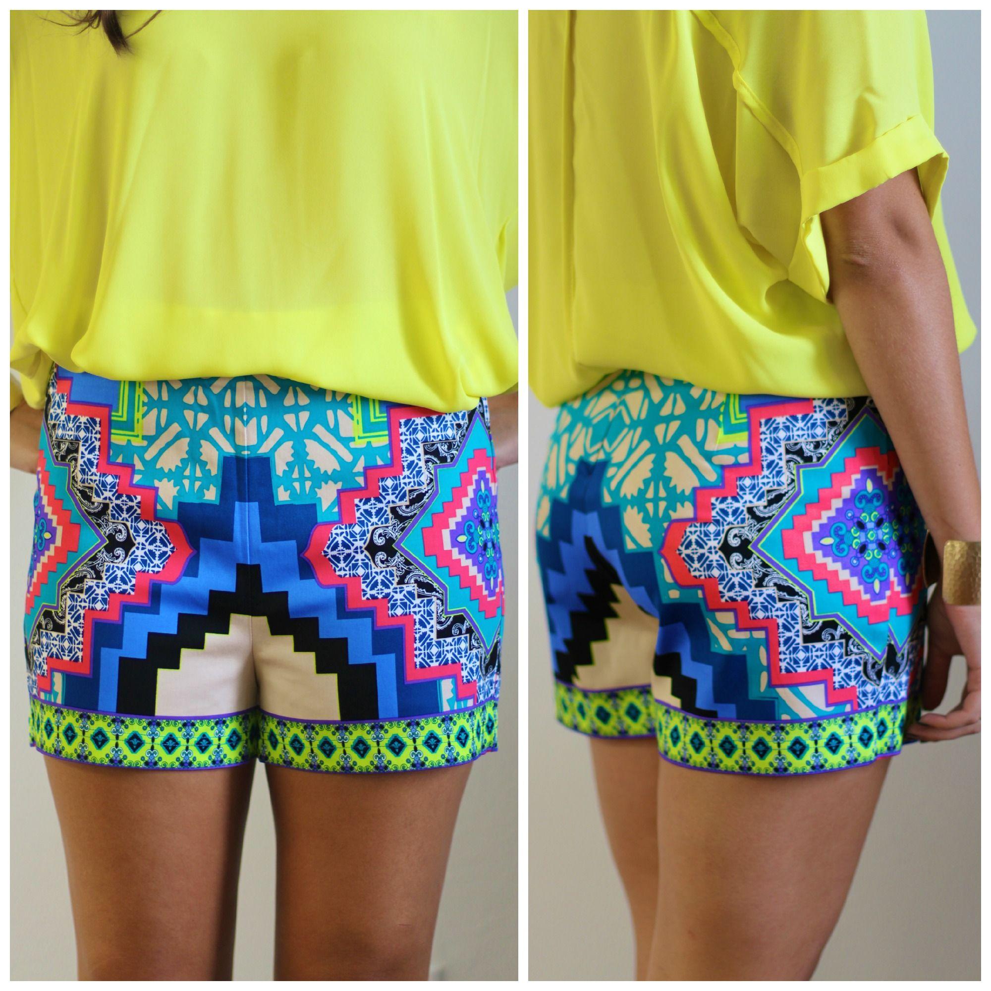 Graphic printed high waist shorts