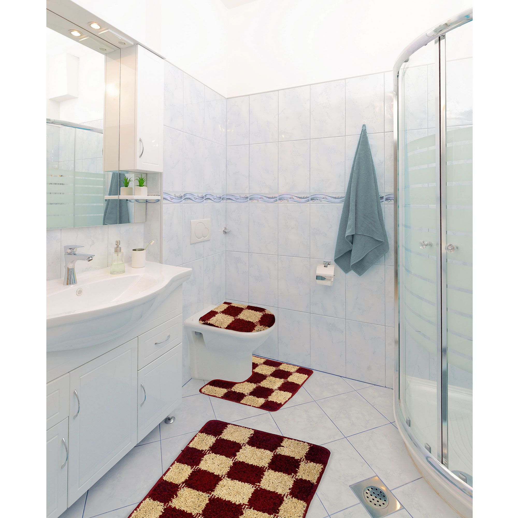 Alexa 3 Piece Checker Design Bathroom Rug Set Bath Rug Contour