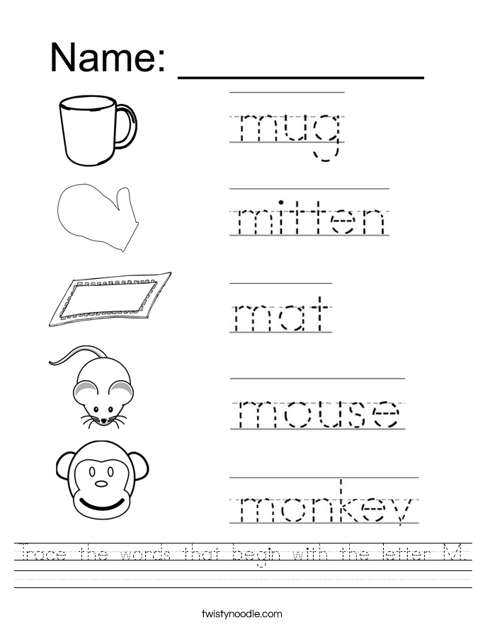 Image result for tracing word sheets Letter m worksheets