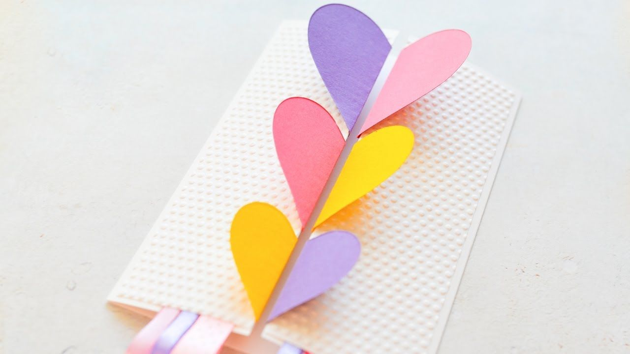 How To Make Greeting Card Valentines Day Hearts Step By Step