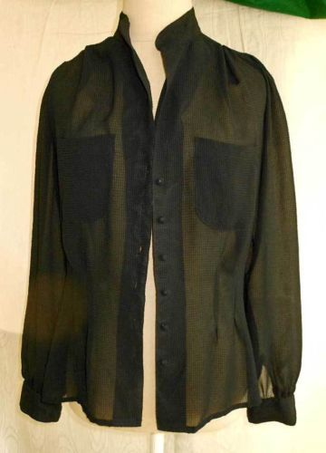 Clovis Ruffin Vintage 70s Nos Deadstock Fitted Sheer See Through Blouse Shirt 12