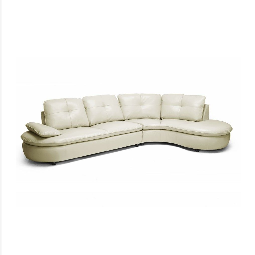 Leather Contemporary Sectional In Cream Sectional Sofa Beige Modern Sofa Sectional Modern Leather Sectional