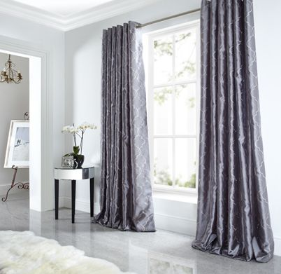 Sicily Curtains Luxury Faux Silk Silver Grey Embroidered Lined Eyelet Curtain In Home Furniture Diy Blinds Pelmets