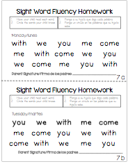 kindergarten weekly homework