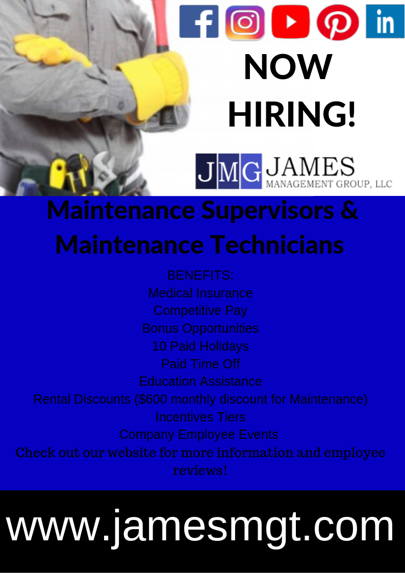 James Management Group Is Now Hiring For Maintenance All Across