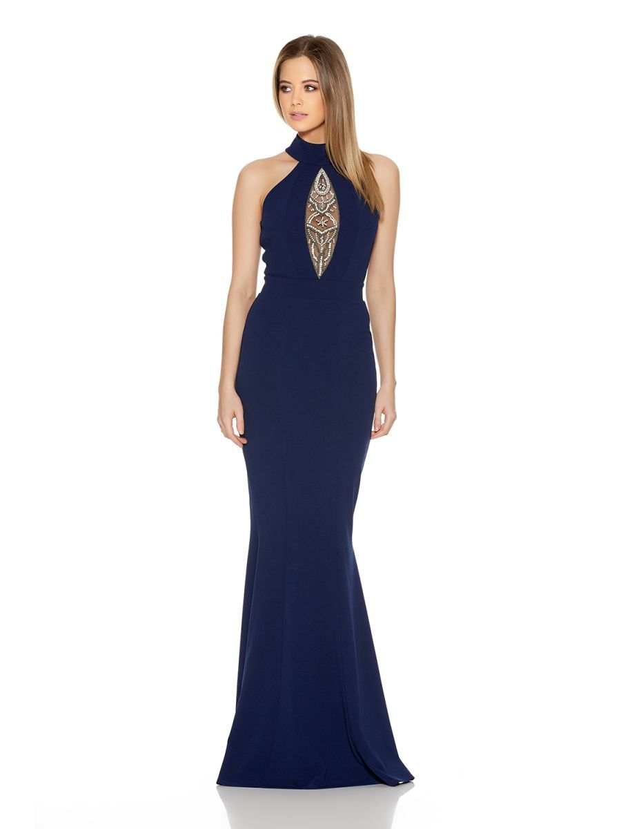 Navy Keyhole Turtle Neck Fishtail Maxi Dress - Quiz Clothing ... bb0384c21