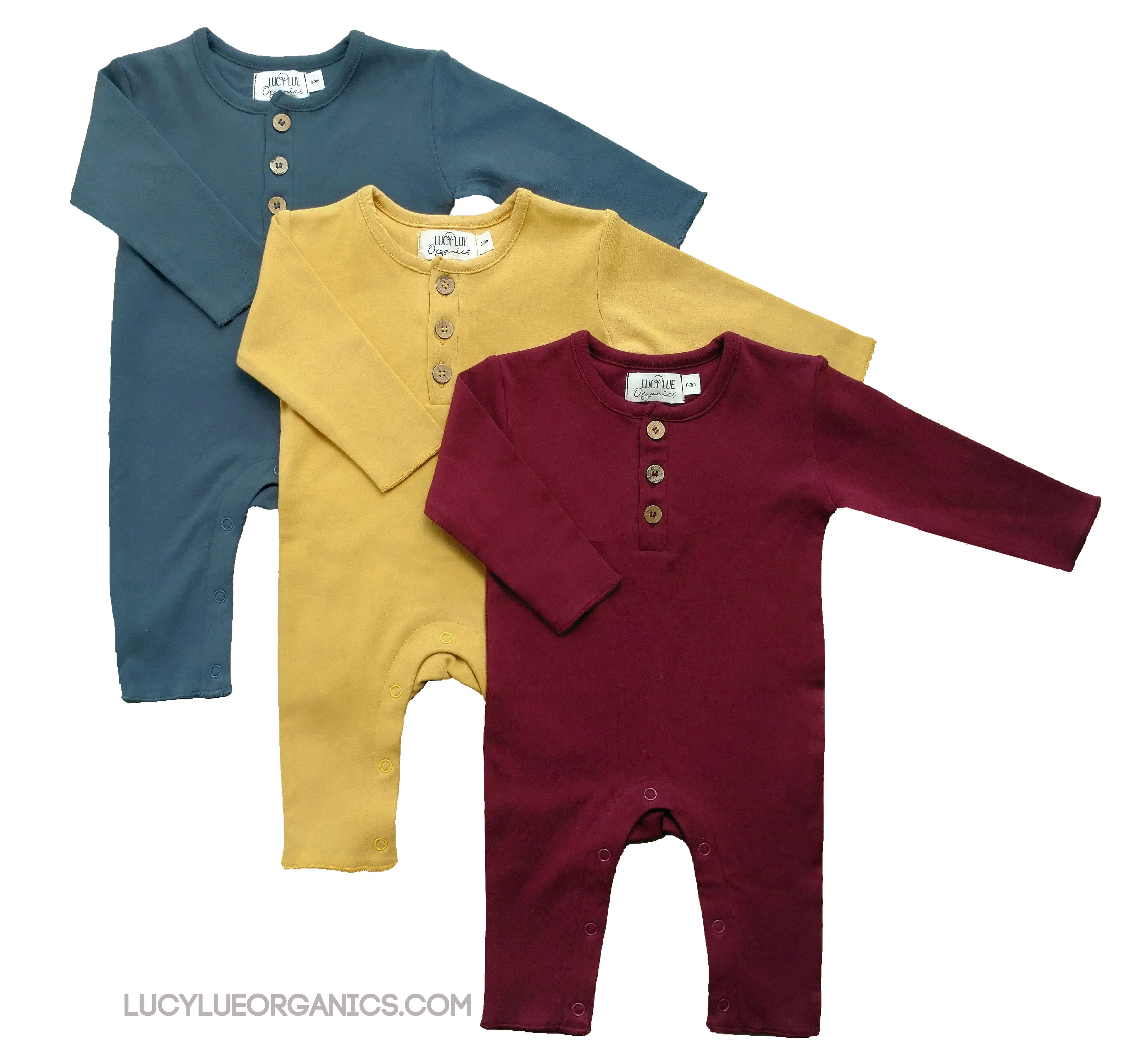 488cc101e 100% Organic cotton baby rompers by Lucy Lue Organics. Mahogany,  Butterscotch, and