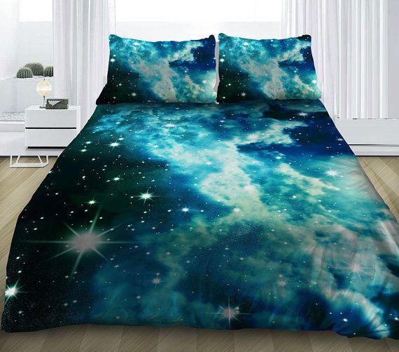 galaxie bleue ensemble de literie est livr avec une housse de couette drap de lit et deux. Black Bedroom Furniture Sets. Home Design Ideas