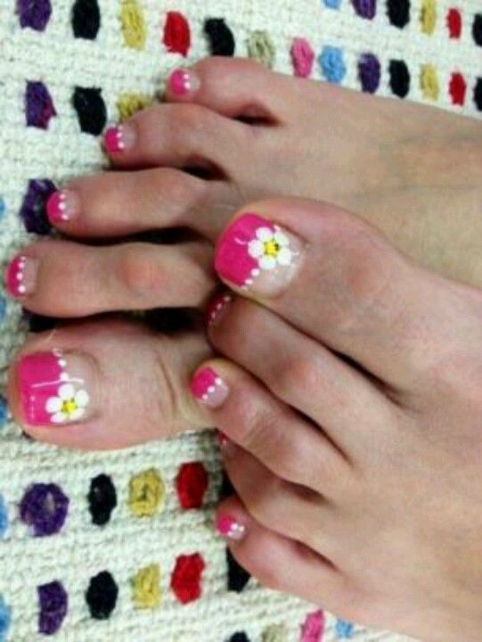 pink frecn flower pedicure nail art | Pedicures: Flowers & French ...