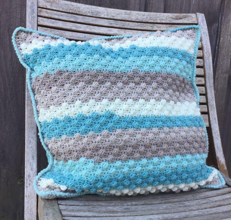 Beach glass throw pillow a free crochet pattern