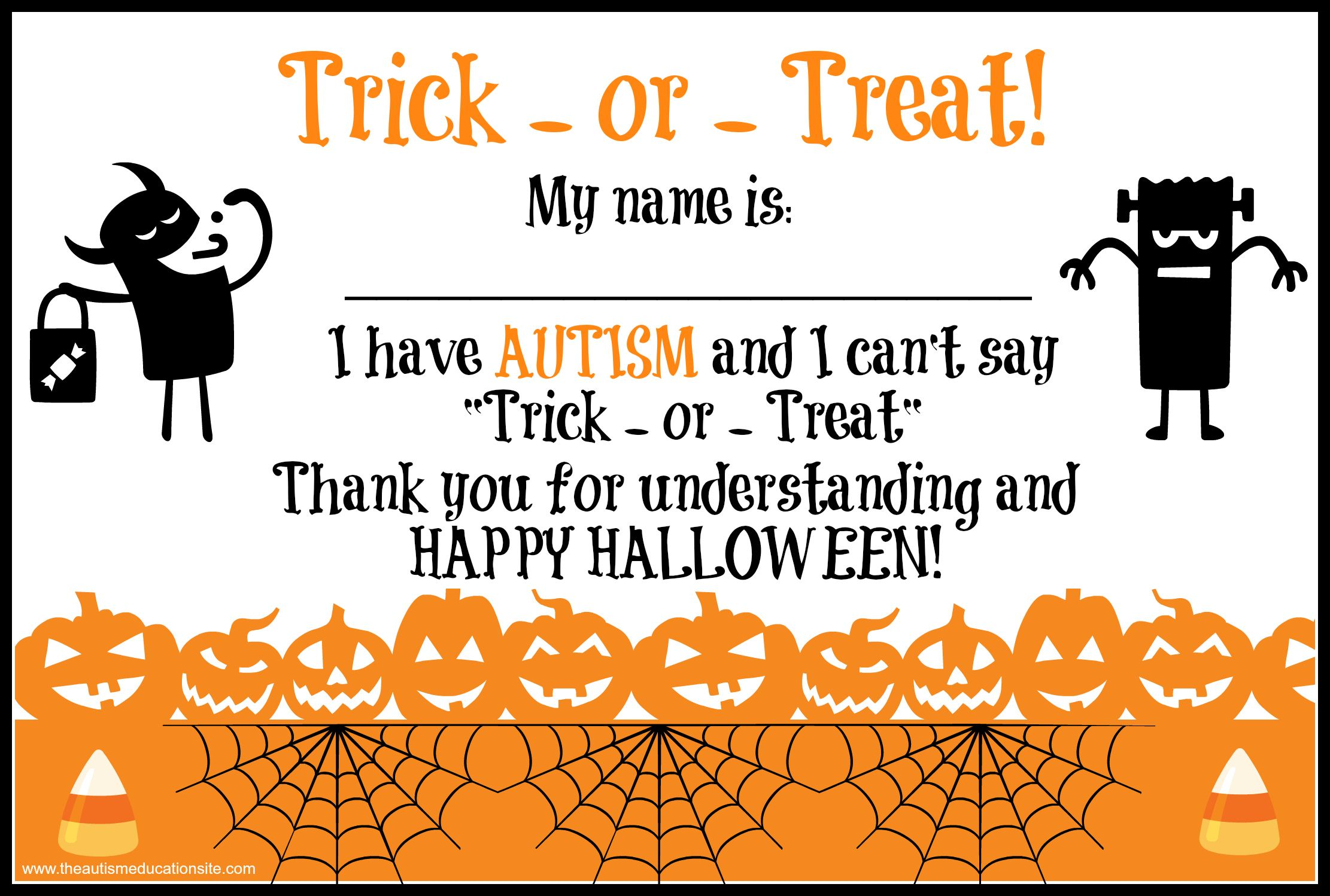 Autism Trick or Treat Printable Autism Printables Halloween