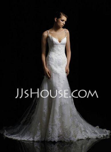 Wedding Dresses Empire V-neck Chapel Train Satin  Tulle Wedding Dresses With Lace  Beadwork (002000379) http://jjshouse.com/Empire-V-neck-Chapel-Train-Satin--Tulle-Wedding-Dresses-With-Lace--Beadwork-002000379-g379