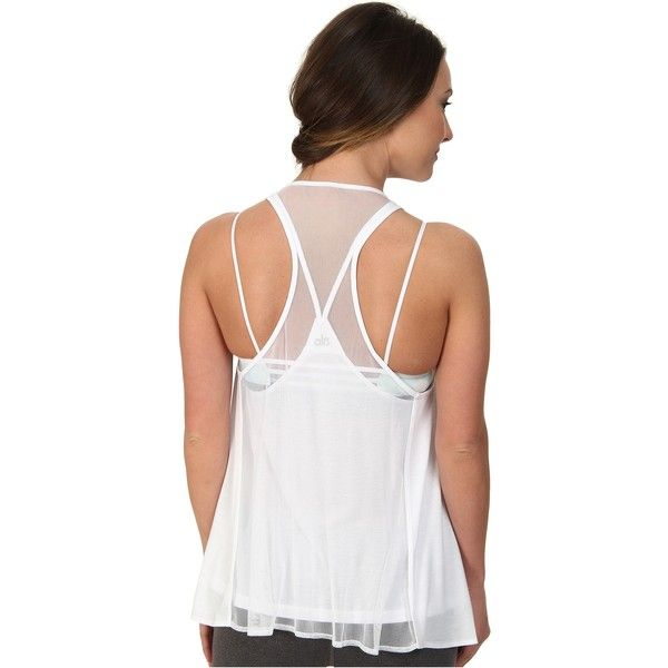 ALO Edge Tank Women's Sleeveless, White ($28) ❤ liked on Polyvore featuring tops, white, racer back tank, white tank, scoop neck tank, sleeveless tank tops and white tops