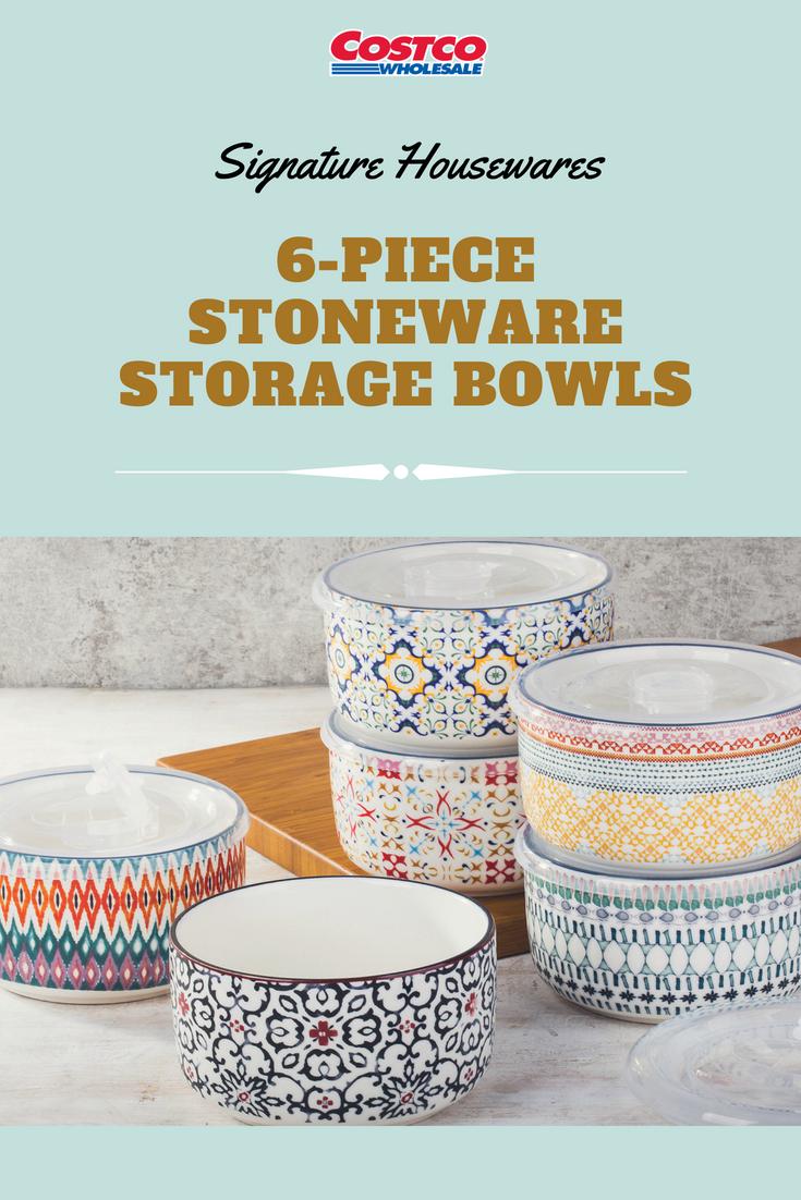 Signature Housewares 6-piece Stoneware Storage Bowls are