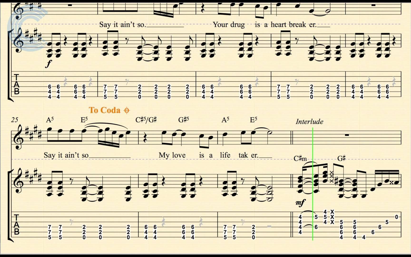 Guitar Say It Aint So Weezer Sheet Music Chords Vocals