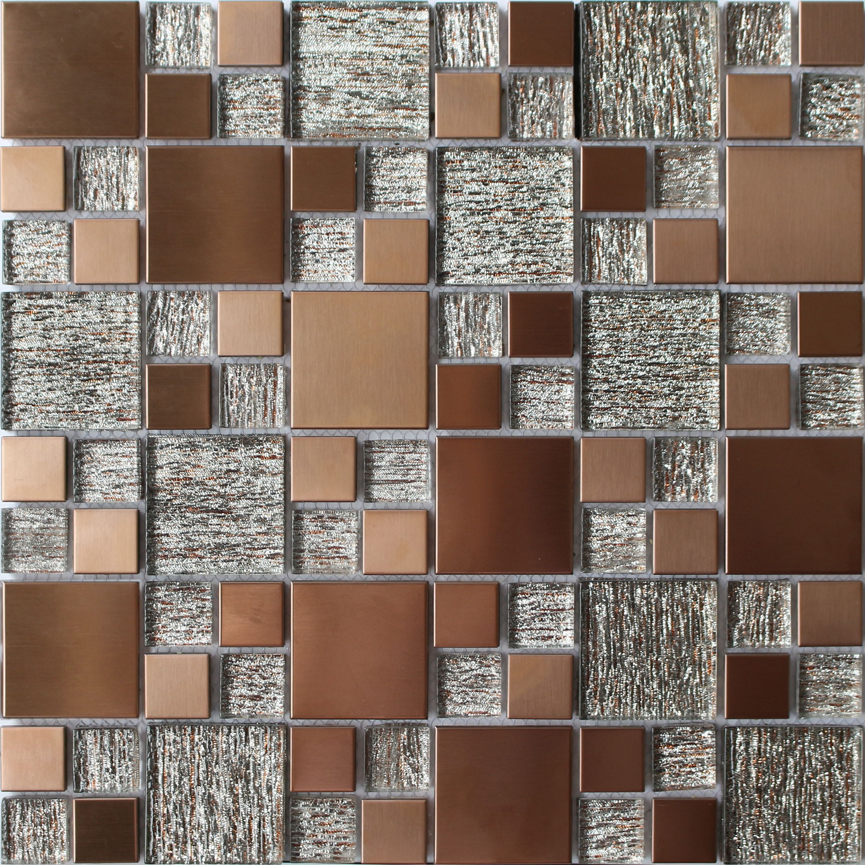Copper Luxe Brushed Gl Marble Mosaic Tile L 300mm W Departments Diy At B Q