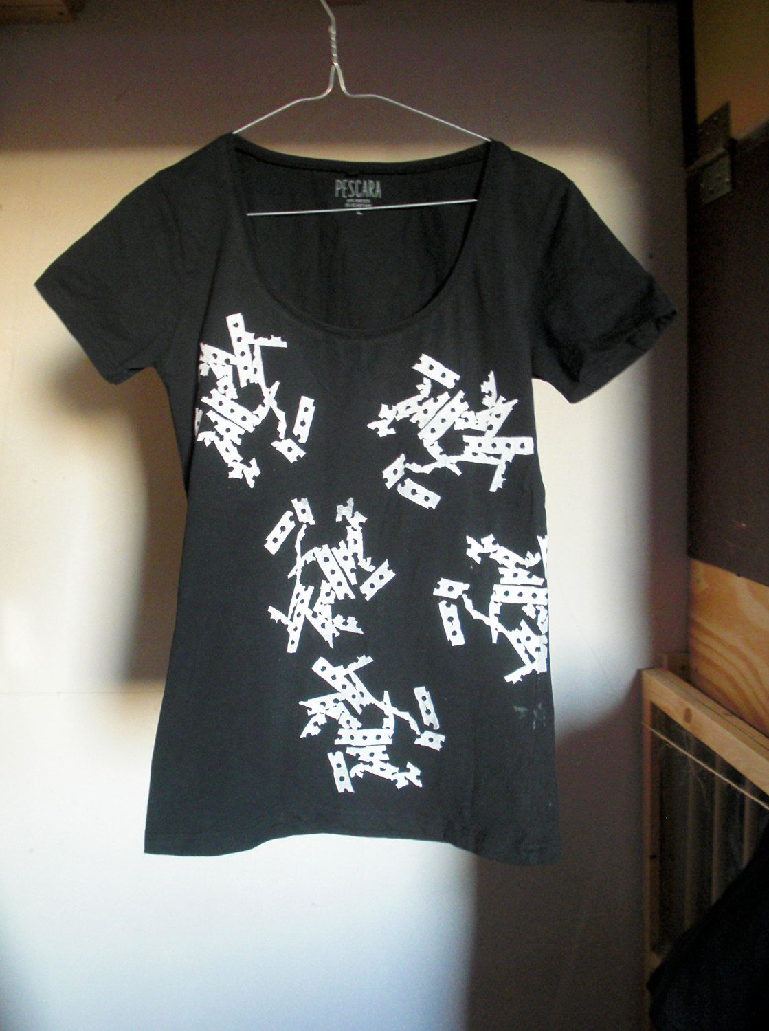 Black short sleeve T shirt with Remains of the Lecture screenprint by MeltedMama on Etsy