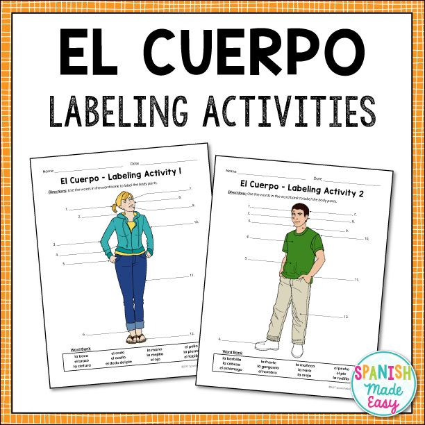 El Cuerpo Body Parts Spanish Labeling Activities Spanish Body