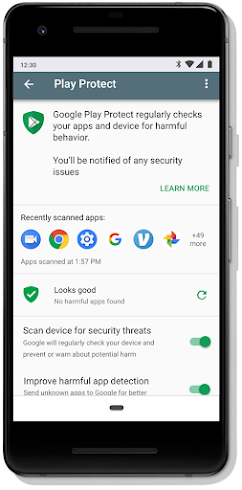 Google Play Protect dashboard screen on mobile | Unusual