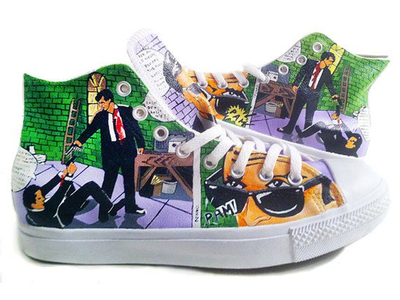 ee54dc55556d Reservoir Dog Converse Hand Painted by PonkoWorld on Etsy