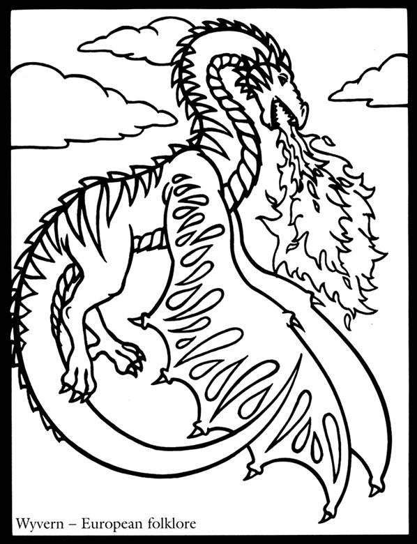 Wyvern | Coloring Pages/ LineArt Dragons | Pinterest