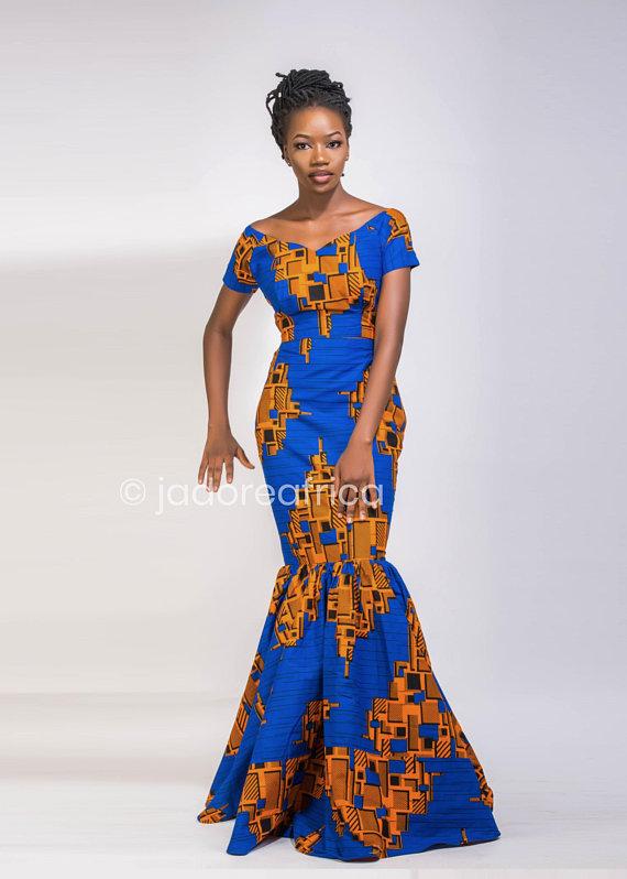 f8d7966b0a53 African print occasion dress / African prom dress / African wedding dress /  Ankara prom dress / Afri