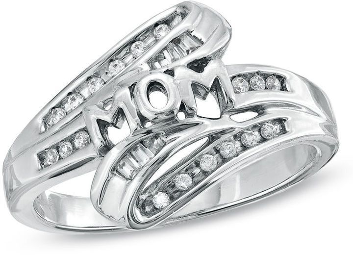Zales Diamond Accent Mom Crossover Ring in Sterling Silver and 10K Gold CpG7PUbIu