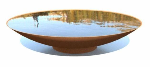 120cm Corten Steel Water Bowl/Garden Water Feature/Dish