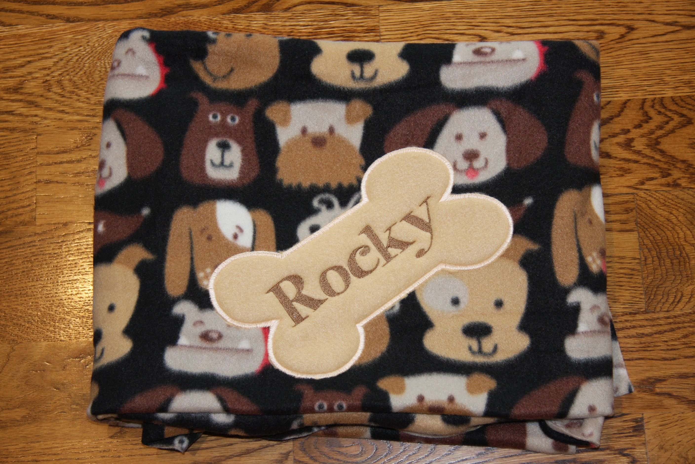 Reversible pet blanket dog blanket fleece custom embroidered with